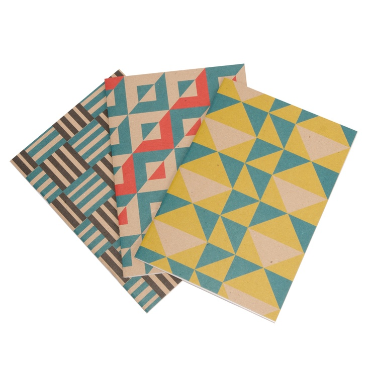 Geometric jotters! Hand printed in the UK. £4.00 each.