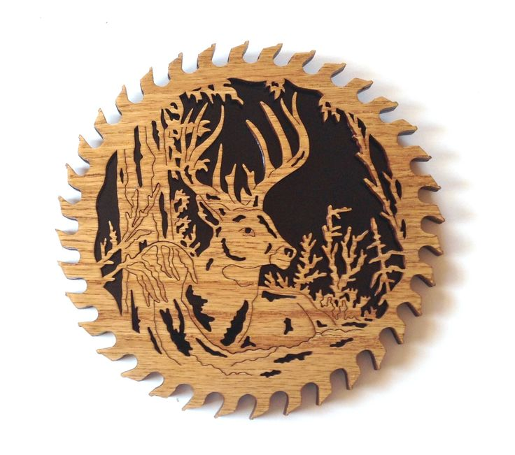 Buck deer laying in the woods scroll saw cut, handmade, fretwork, wall hanging 12sb by ScrollSawTreasures on Etsy