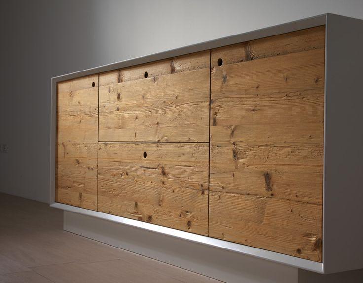 MADIA ABETE ANTICHIZZATO struttura in legno laccato bianco, ante in ...