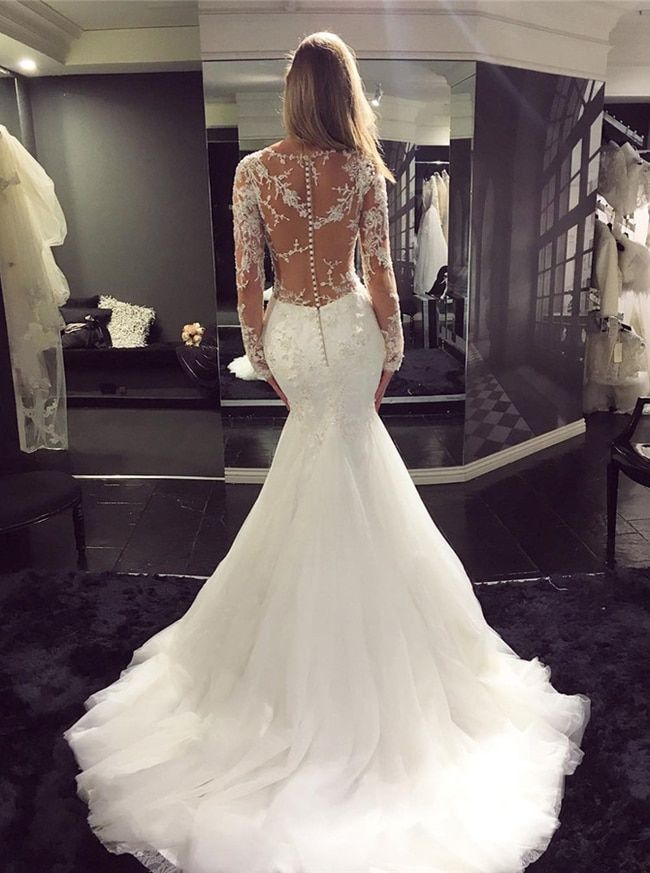 Luxury Wedding Dresses with Sleeves,Tulle Bridal Dress with Long Train.11660