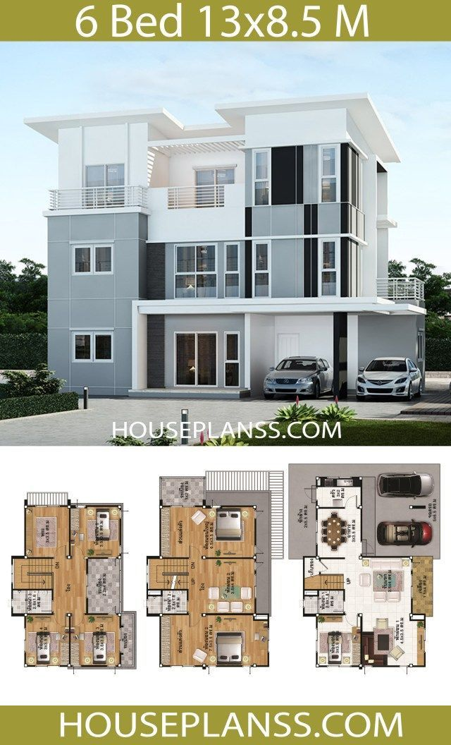 House Plans Idea 13x8 5 With 6 Bedrooms In 2020 In 2020 Architect Design House Modern House Plans Model House Plan