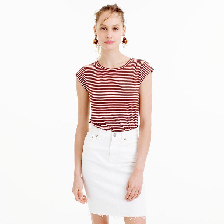 Ballet cap-sleeve T-shirt in stripe rusty brown