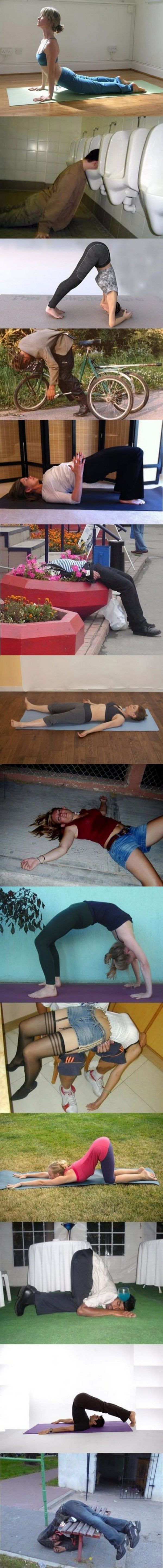 Yoga Sober and Drunk   - funny pictures #funnypictures