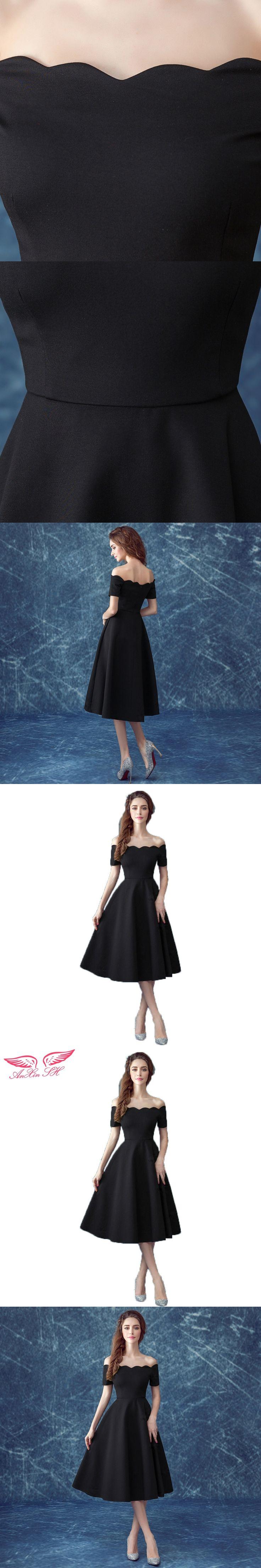 AnXin SH Black boat neck evening dress dinner perform short princess black evening dress nightclub little black dress 318Q