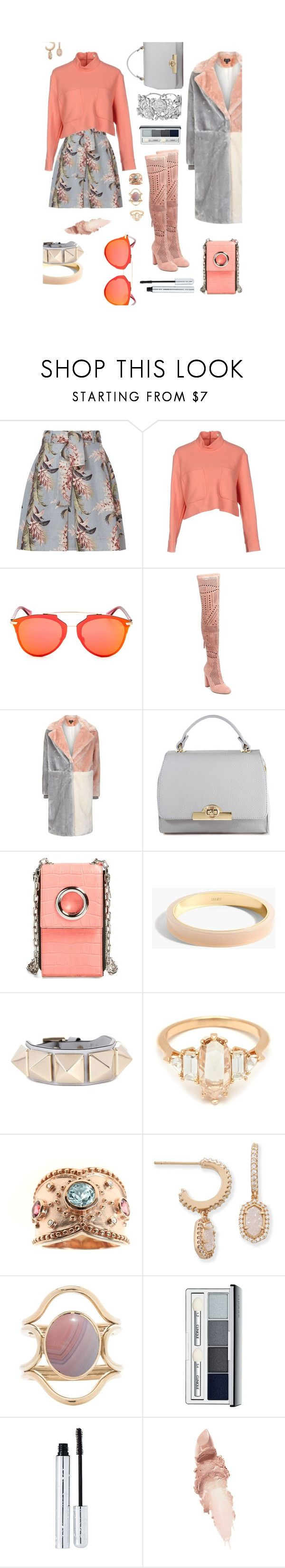 """""""Apricot Frosted"""" by amyopt ❤ liked on Polyvore featuring Zimmermann, Issa, Christian Dior, Steve Madden, Topshop, Alexander Wang, J.Crew, Valentino, Dallas Prince and Kendra Scott"""