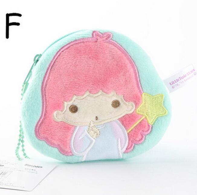 Little Twin Stars Green Circle Plush Handbag Coin Bag Money Bags Zip Ornament