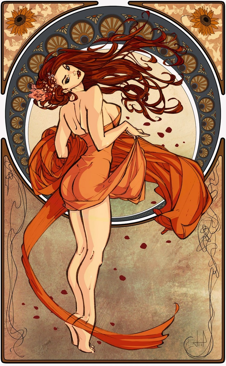 Art Nouveau orange and blue