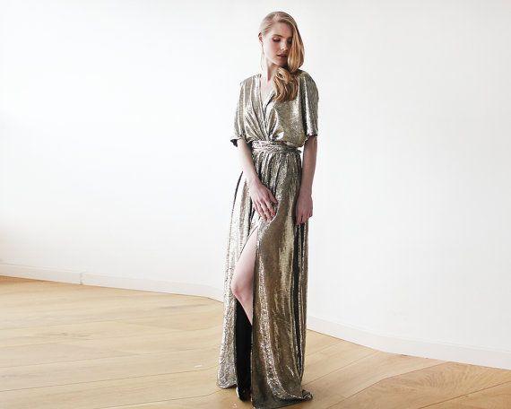 Maxi Metallic gold bat sleeves dress Metallic by BLUSHFASHION