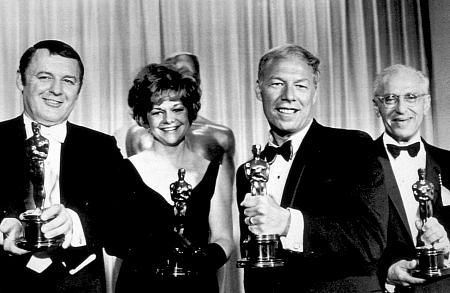 """Academy Awards: 40th Annual,"" Rod Steiger, Estelle Parsons, George Kennedy, and George Cukor. 1968."