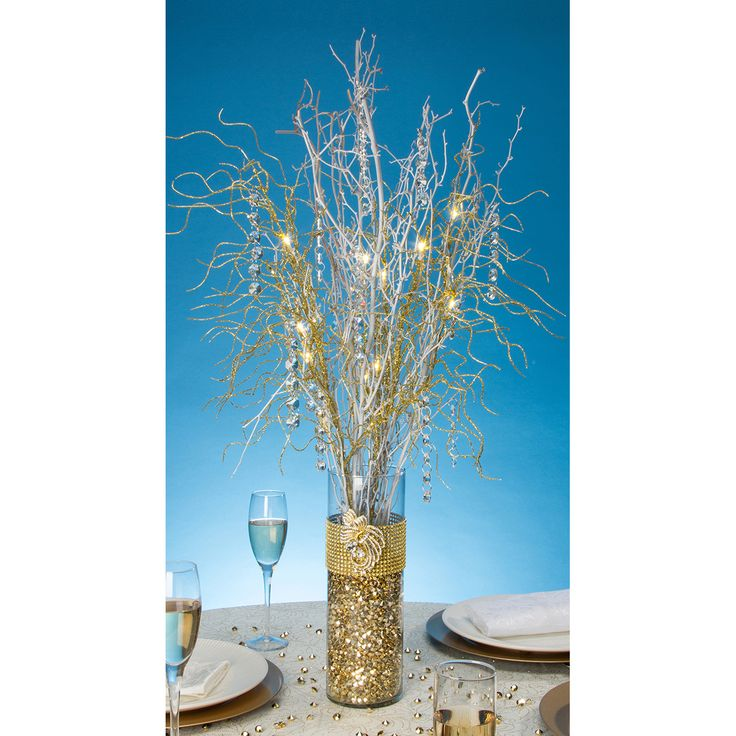 David Tutera Wedding Centerpiece Ideas: Darice-LED Lighted Gold Branch Spray: Battery Operated