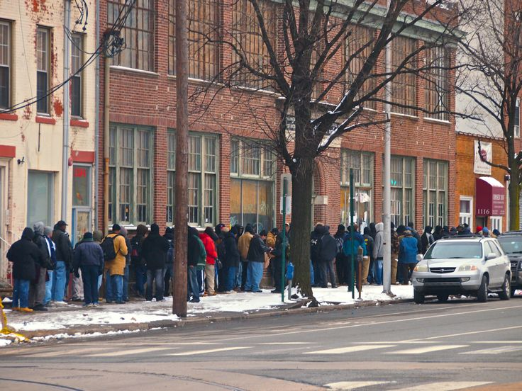 Soup Kitchen line near Center City Philadelphia PA March ...