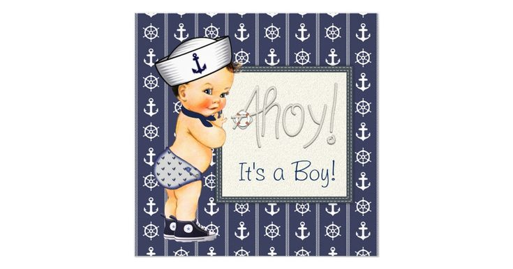 Sailor baby shower invitation with adorable sailor baby boy on a ship wheel and anchor nautical background. This adorable nautical baby shower invitation is easily customized for your event. Add your details to the front and/or back by simply adding your event details, font style, font size & color, and wording. You can delete or move the Ahoy as needed.