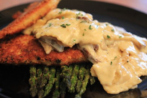 Dinner for 2: Parmesan Crusted Chicken, Roasted Asparagus and Three-cheese Ravioli in a Shiitake Cream Sauce