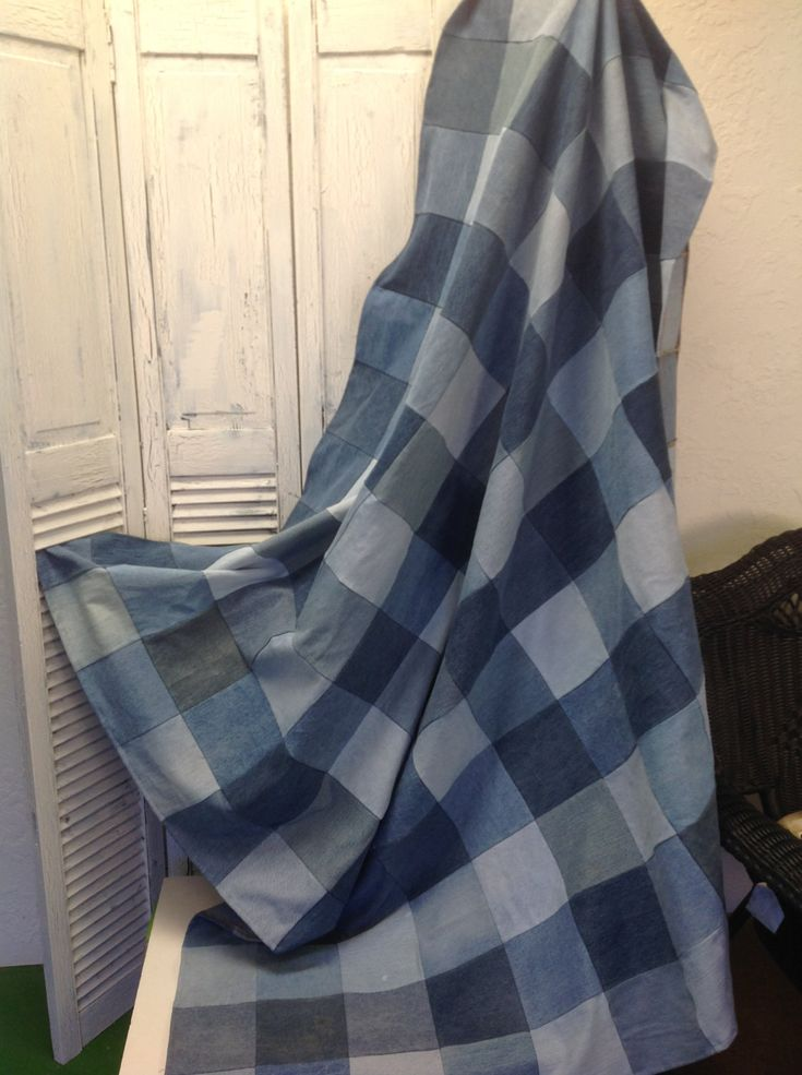 Upcycled Denim Picnic or Utility Blanket (QA06) by GrandmaRietas on Etsy