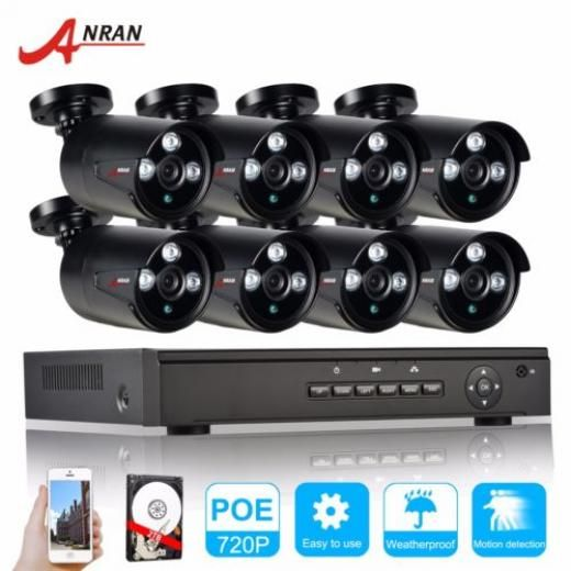 """Anran 8x 720p Poe Hd Surveillance In/outdoor Camera System 2tb Remote View Ip66 Bullet Cctv/closed System-wired Wk08p4280 8 China 8*1080p/8*720p/16*d1 30fps 1080p Recoding 1/2.7"""" Sony Imx 122 Sensor Progressive Scan"""
