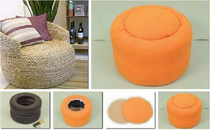 DIY Tires as an ottoman. love the grass one.. super cute.