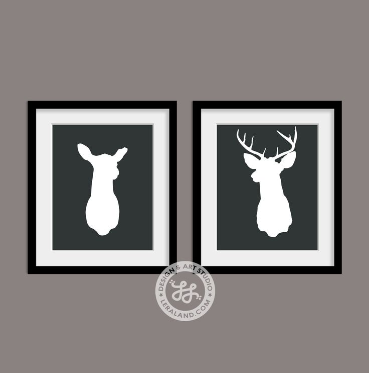 Mounted Deer Head 11x14 or 8x10 Silhouette Doe and Buck Stag Antlers Digital Art Print Modern Home Decor Affordable Wall Art Wedding Gift by Leraland on Etsy