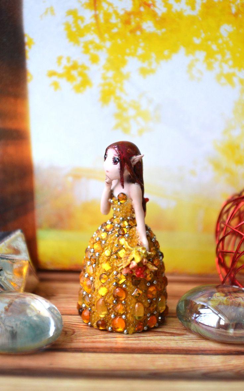 "Miniature ""Amber melancholy""  elf, autumn, cherry, mustard, figuries"