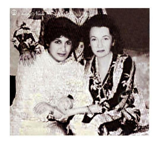 صورة نادرة للاميرة فوزية و ابنتها شاهيناز في السبعينات.princes Fawzia and daughter Shahnaz in 1970's