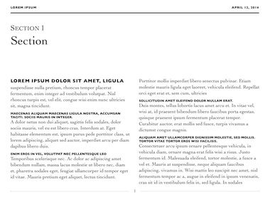 Editorial Template for iBooks Author, available at http://ibooksauthortemplate.com/templates/details/Editorial