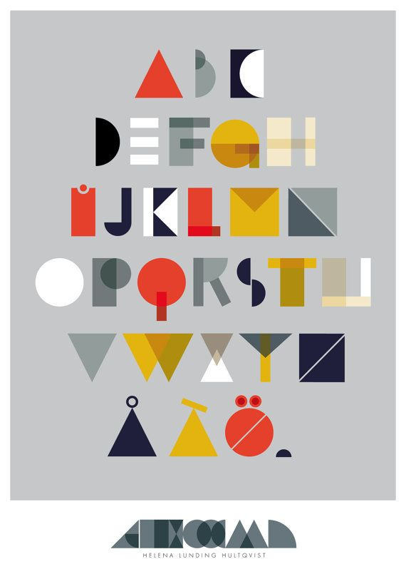 Geo Alphabet by HelenaLunding on Etsy.