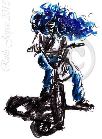 Blue haired #BMX girl. #bike #sport #blue #ruthjoyceart