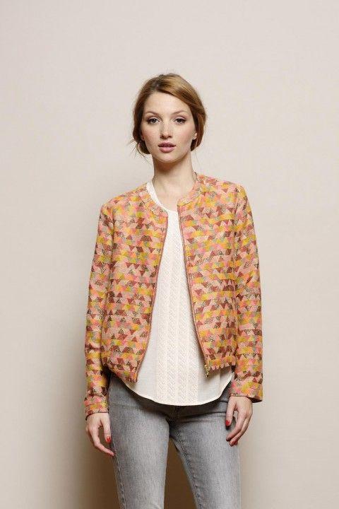 blouson Tobby multicolore 13% coton/51% acrylique/30% polyester/6% polyester metallise - manteau Femme - Des Petits Hauts