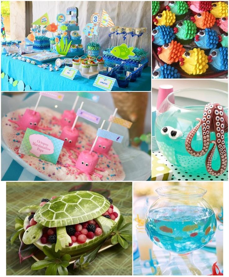 "This is a nice compilation of theme ideas i have found on Pinterest for an ""Under The Sea"" party! Great idea for a childs birthday, especially if they have recently become addicted to ""Finding Nemo"" or ""The Little Mermaid"" (Two of my personal favorites) There are so many ways to take a normal party idea, and make it fit your theme. The turtle watermelon fruit bowl is an excellent example, i have seen a bunch of crazy ways to carve a watermelon.  When all else fails, Google it. You'll be…"