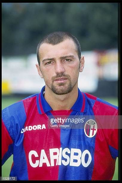 A portrait of Giuseppe Anclerio of Bologna taken during the club photocall Mandatory Credit Allsport UK