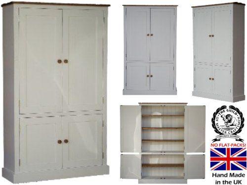 100% Solid Wood Cupboard, White Painted U0026 Waxed 4 Door Pantry, Larder,