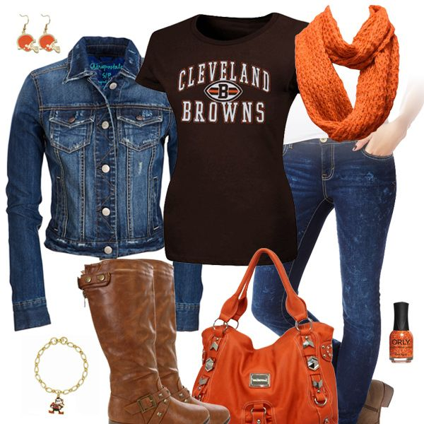 If the boots had a heel it would be perfection! Cleveland Browns Jean Jacket Outfit