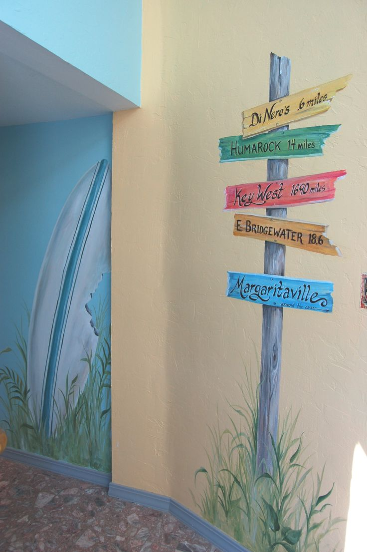 Hand painted beach mural in hallway beach themed room for Beach mural painting