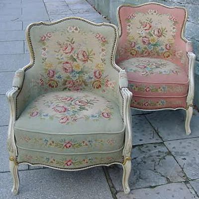 Beautiful French chairs upholstered in rose fabric. These are so charming.