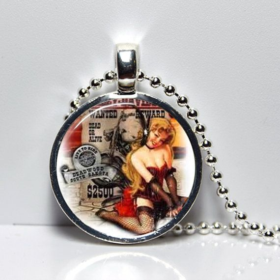 Vintage Pin Up Cowgirl Pendant Necklace with by SpringPendants