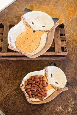 "This set of two ceramic fox platters will be the perfect entertaining accessory for your fall table-scape or use it to accent your bookshelves or countertop year round! large 7.5"" x 10""t"
