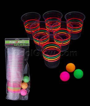 Blacklight Reactive Beer Pong Party Pack - Glow Sticks, Glow Necklaces, Glow Bracelets, Wholesale Cheap Glow Sticks
