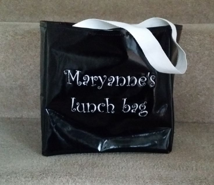 Black Personalised Lunch Bag - oil cloth, wipe clean, personalised with your name, embroidery, monochrome, black and white by MadeByMAP on Etsy