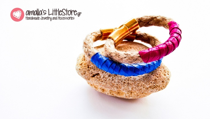 Handmade bracelets made of rope and extra fine leather !www.littlestore.gr