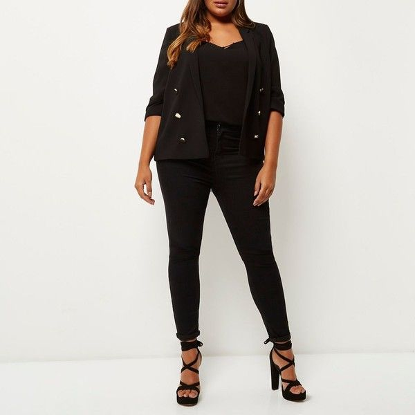 River Island Plus black buttoned blazer (£27) ❤ liked on Polyvore featuring outerwear, jackets, blazers, plus size blazers, woven jacket, blazer jacket, women's plus size blazers and women's plus size jackets