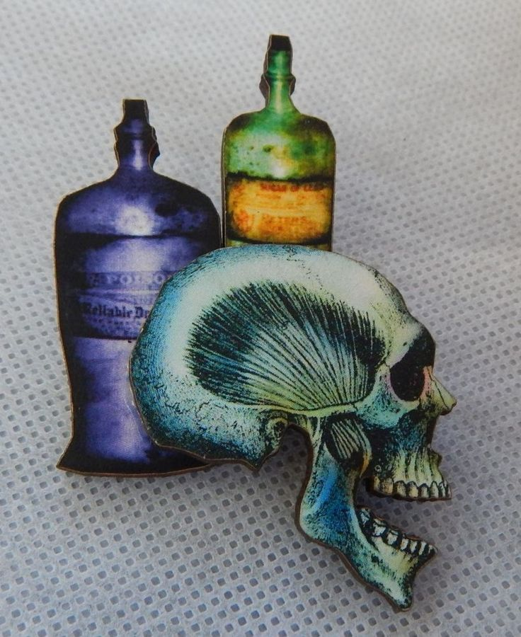 Skull & Bottles of Poison Brooch or Scarf Pin Jewelry Wood Fashion New  #Handmade