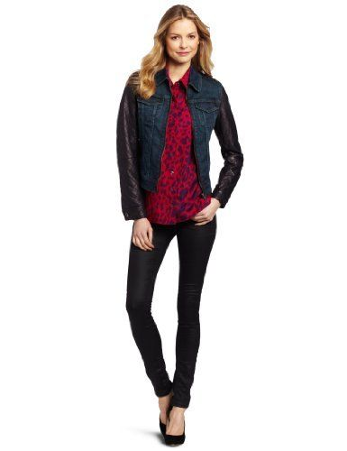 Isaac Mizrahi Women's Kimberly Denim Jacket Isaac Mizrahi Jeans. $59.97. Quilted faux leather sleeves and collar. 99% Cotton/1% Spandex. Machine Wash. Made in China. Zip front jacket