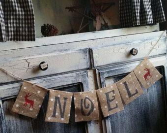 Bannière de toile de jute de Noel, bannière de Noel, bannière de cerf, bannière de Noël, signe de Noël, décoration, décoration de Noël, bannière Holiday, cerf, signe de cerf