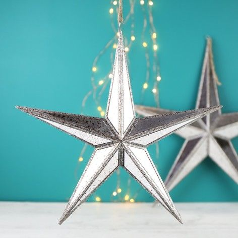 Small Mirrored Star Hanging Ornament at lisaangel.co.uk