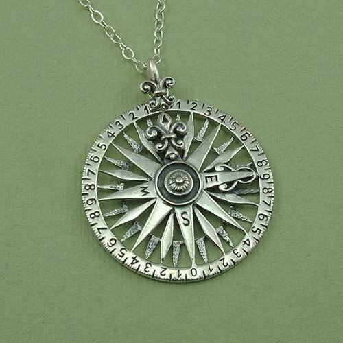 Kompas halsketting 925 sterling zilveren hanger door TheZenMuse