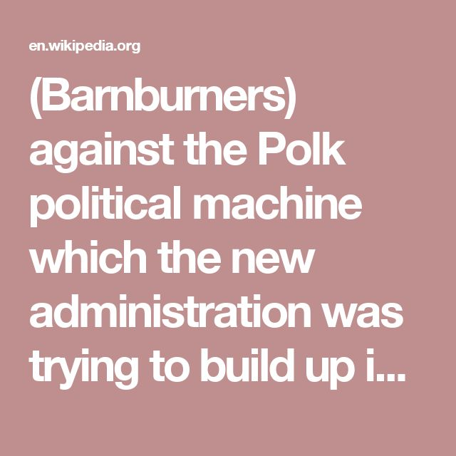 (Barnburners) against the Polk political machine which the new administration was trying to build up in New York.
