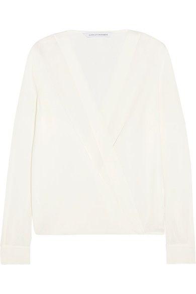 Diane von Furstenberg - Marci Wrap-effect Silk-crepe Blouse - Ivory - US10