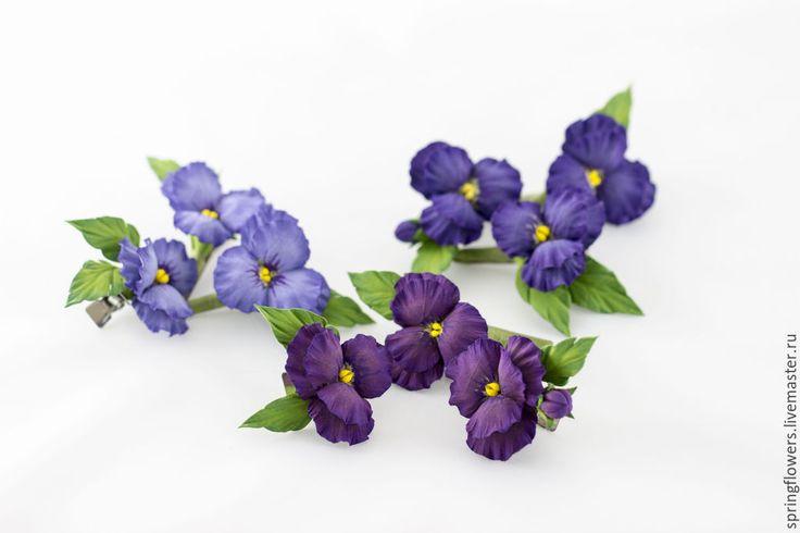 Купить заколки с фиалками - разноцветный, фиолетовый, фиолетовый цветок, фиолетовая свадьба, фиалки, фиалка