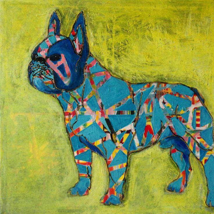 Blue 100x100cm acryl by Marianne Nielsen
