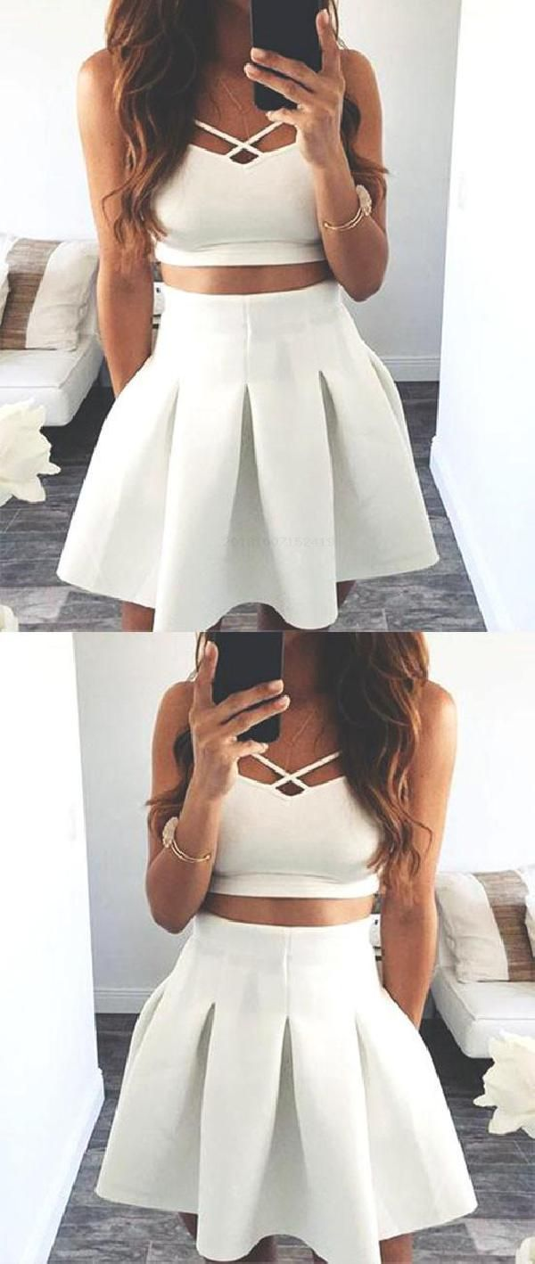 Outlet great prom dresses two piece short homecoming dresses white