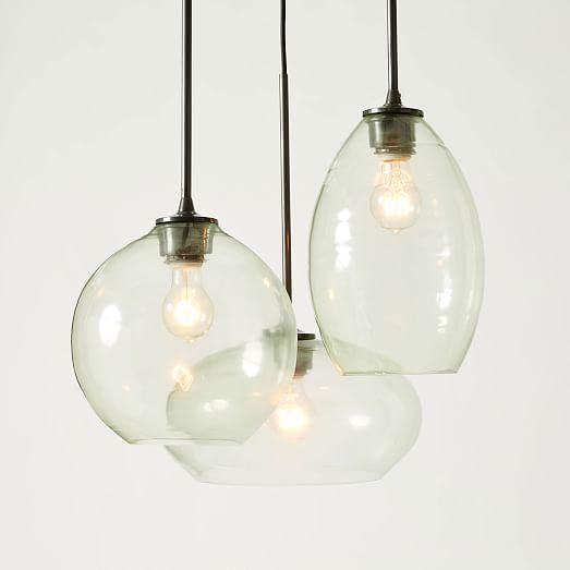 house lighting fixtures. glass triplet chandelier west elm house lighting fixtures
